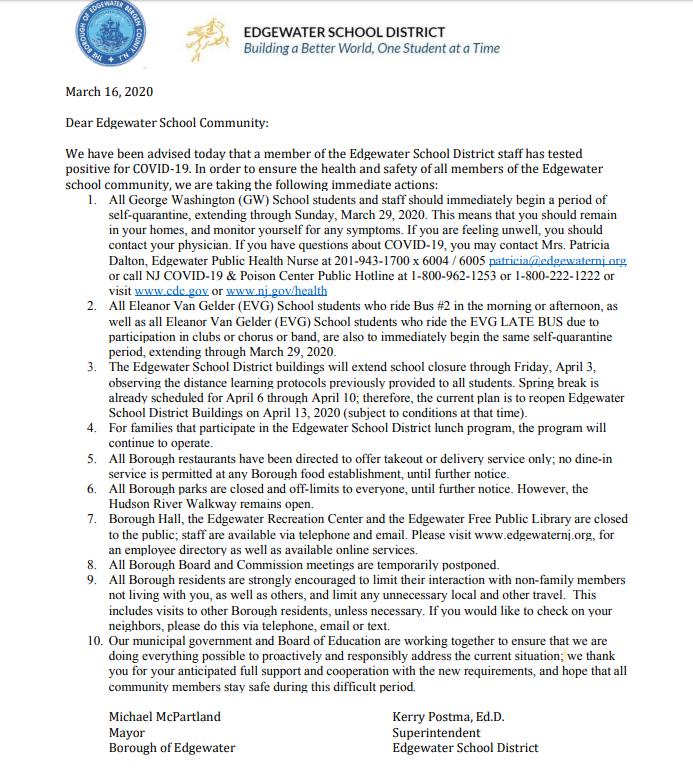 Edgewater School District letter Opens in new window
