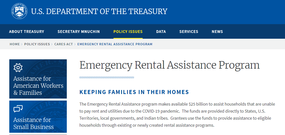treasury rental assistance
