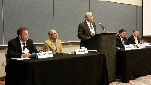 Mayor speaking at League of Municipalities